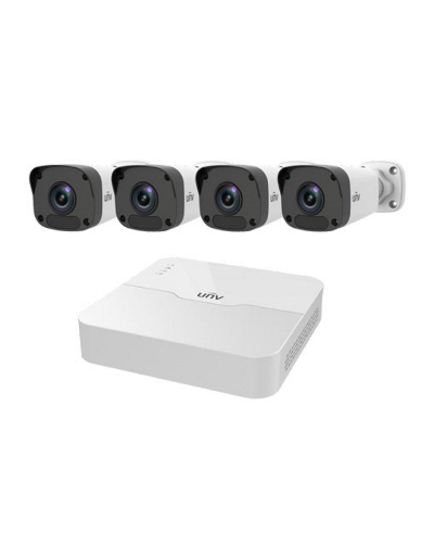 UNV 4ch NVR & 4 IR Mini Bullets Cameras with 1TB Storage Kit